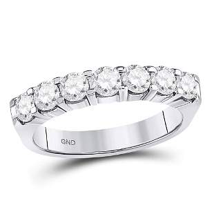 14kt White Gold Womens Round Diamond Single Row Comfort