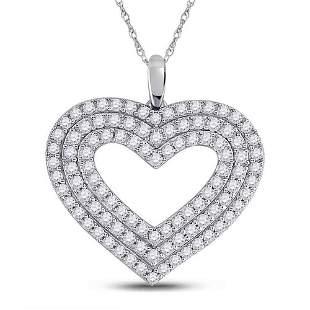 14kt White Gold Womens Round Diamond Heart Pendant 1