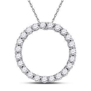 14kt White Gold Womens Round Diamond Circle Pendant 1/4