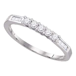14kt White Gold Womens Round Diamond Wedding 5-Stone