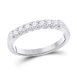 14kt White Gold Womens Round Diamond Single Row Band