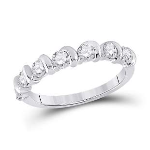 14kt White Gold Womens Round Diamond Band Ring 3/4 Cttw