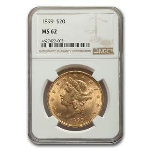 1899 $20 Liberty Gold Double Eagle MS-62 NGC