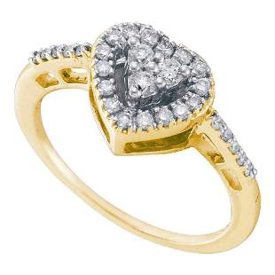 14kt Yellow Gold Womens Round Diamond Heart Cluster