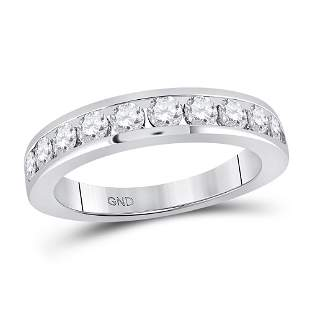 14kt White Gold Womens Round Diamond Wedding Single Row
