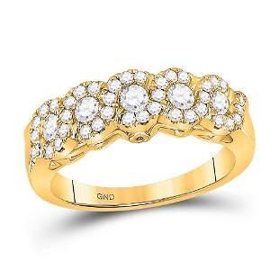 14kt Yellow Gold Womens Round Diamond Band Ring 3/4