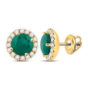14kt Yellow Gold Womens Round Emerald Diamond Halo
