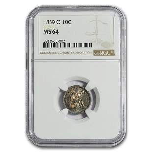 1859-O Liberty Seated Dime MS-64 NGC