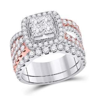 14kt Two-tone Gold Princess Diamond Bridal Wedding Ring