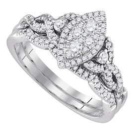 14k White Gold Round Diamond Marquise-shape Cluster