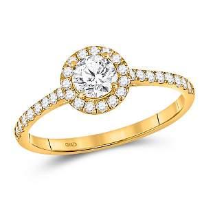 14kt Yellow Gold Round Diamond Halo Bridal Wedding