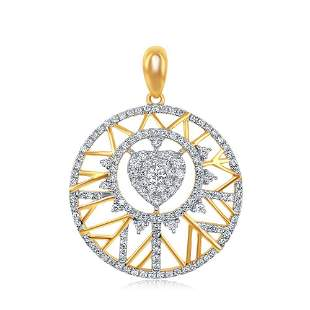 14kt Yellow Gold Womens Round Diamond Modern Starburst