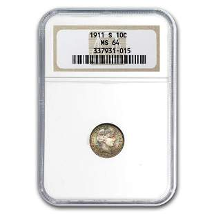 1911-S Barber Dime MS-64 NGC (Beautifully Toned)