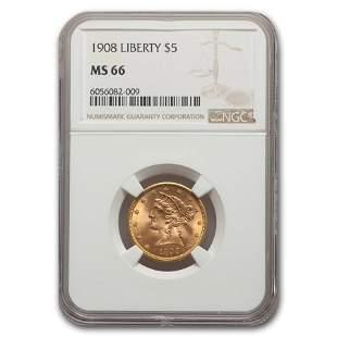 1908 $5 Liberty Gold Half Eagle MS-66 NGC