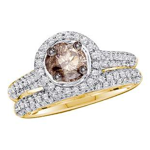 14kt Yellow Gold Womens Round Brown Diamond Bridal