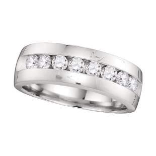 14kt White Gold Mens Round Diamond Wedding Band Ring 1