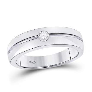 14kt White Gold Mens Round Bezel-set Diamond Wedding