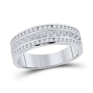 14kt White Gold Mens Round Diamond Wedding Braided Band