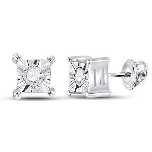 14kt White Gold Womens Round Diamond Solitaire Earrings