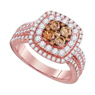 14kt Rose Gold Womens Round Brown Diamond Square