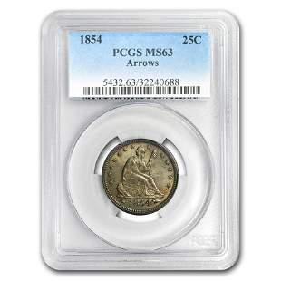 1854 Liberty Seated Quarter MS-63 PCGS (Arrows)