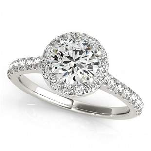Natural 1.4 ctw Diamond Solitaire Halo Ring 14k White