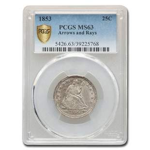 1853 Liberty Seated Quarter w/Arrows & Rays MS-63 PCGS