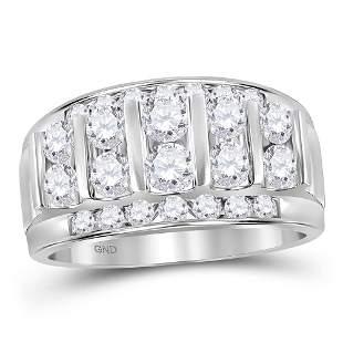 14kt White Gold Mens Round Diamond Wedding Channel Set
