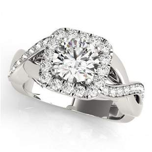 Natural 2 ctw Diamond Solitaire Halo Ring 14k White