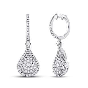 14kt White Gold Womens Round Diamond Cluster Teardrop