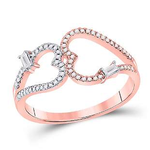 14kt Rose Gold Womens Round Diamond Double Heart Ring