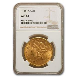 1880-S $20 Liberty Gold Double Eagle MS-61 NGC