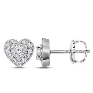 14kt White Gold Womens Round Diamond Heart Earrings 1/3
