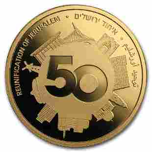 2017 Israel 1/2 oz Gold 10 NIS 50 Years Reunited
