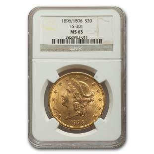 1896/1896 $20 Liberty Gold Double Eagle MS-63 NGC