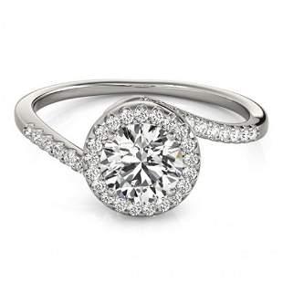 Natural 0.75 ctw Diamond Bypass Ring 14k White Gold