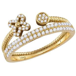 14kt Yellow Gold Womens Round Diamond Flower Bisected