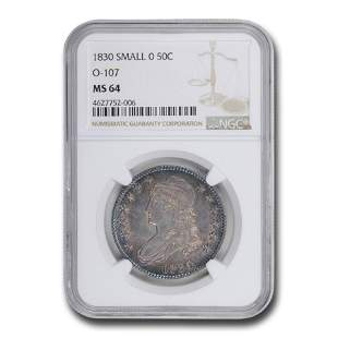 1830 Capped Bust Half Dollar MS-64 NGC (Small 0 ,