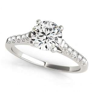 Natural 0.97 ctw Diamond Solitaire Ring 14k White Gold