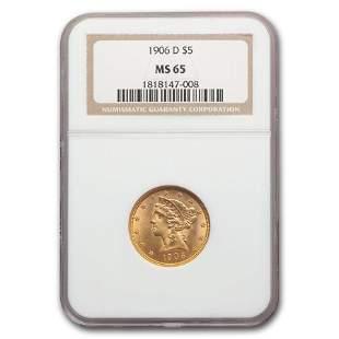 1906-D $5 Liberty Gold Half Eagle MS-65 NGC