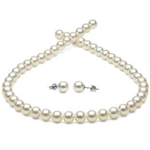 White Hanadama Japanese Akoya Pearl Jewelry Set,