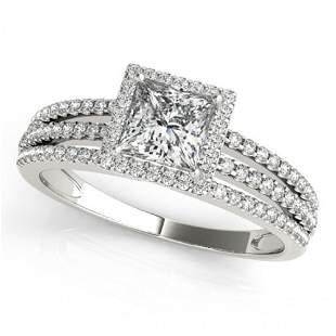 Natural 0.95 ctw Princess Diamond Halo Ring 14k White