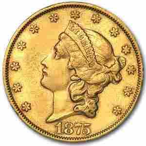 1875 $20 Liberty Gold Double Eagle AU