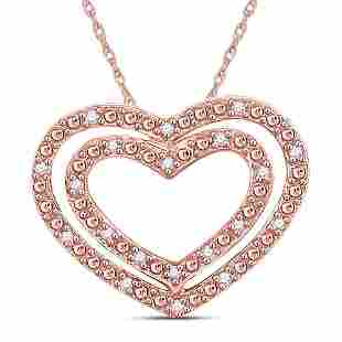 14kt Rose Gold Womens Round Diamond Double Heart