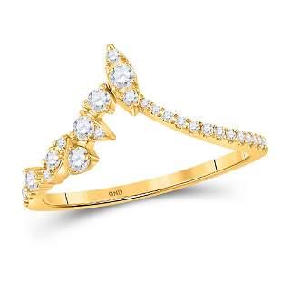 14kt Yellow Gold Womens Round Diamond Marquise Dot