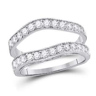 14kt White Gold Womens Round Diamond Milgrain Wrap Ring