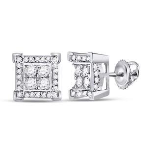 14kt White Gold Mens Round Diamond Square Earrings 1/3