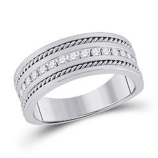 14kt White Gold Mens Round Diamond Wedding Band Ring