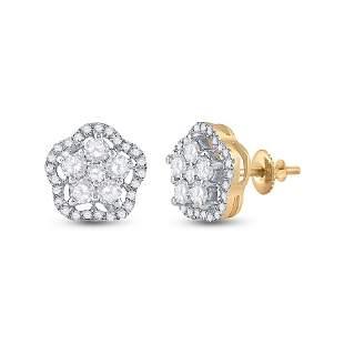 14kt Yellow Gold Womens Round Diamond Star Cluster