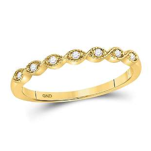 14kt Yellow Gold Womens Round Diamond Classic Stackable